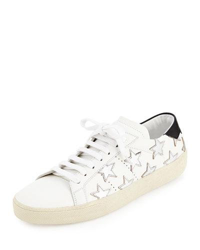 Glitter Stars Leather Sneaker, Blanc/Optique