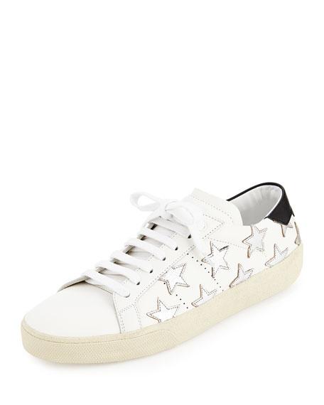 e21683bc3e2 Saint Laurent Glitter Stars Leather Sneaker, Blanc/Optique