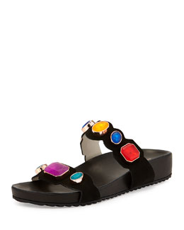 Becky Jewel Slide Sandal, Black