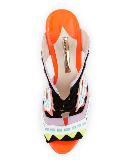 Riko Colorblock Slide Sandal, Orchid Bouquet