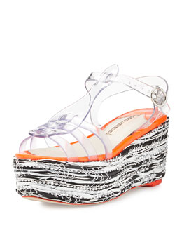 Suki Jelly Platform Wedge Sandal, Crystal Vinyl