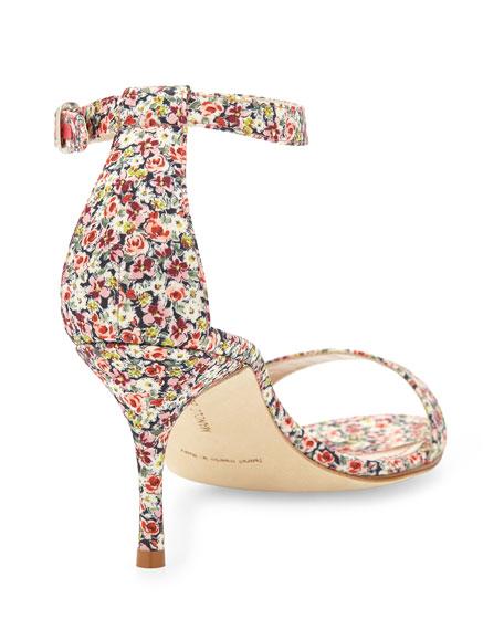 Chaos Floral-Print 70mm Sandal, Pink