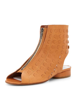 Perforated Leather Summer Bootie, Camel