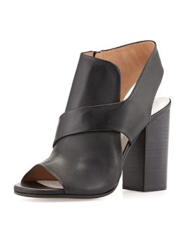 Cutout Leather Summer Bootie, Black