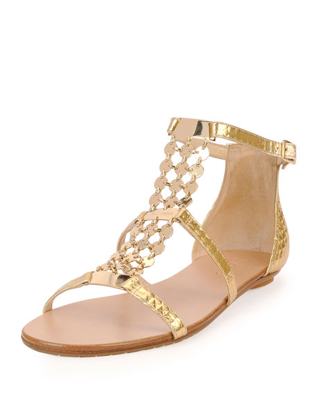 Jimmy ChooWyatt Metallic Chain Trim Flat Sandal, Gold
