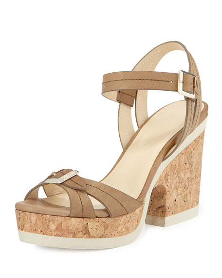 Nemesis Cork-Heel Rubber-Sole Sandal