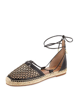 Blondie Studded Lattice Espadrille Sandal, Black