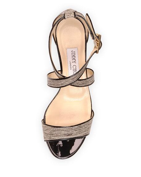 6d454b49c394 Jimmy Choo Chiara Glitter Crisscross Demi-Wedge Sandal
