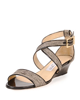 Chiara Glitter Crisscross Demi-Wedge Sandal, Natural/Black