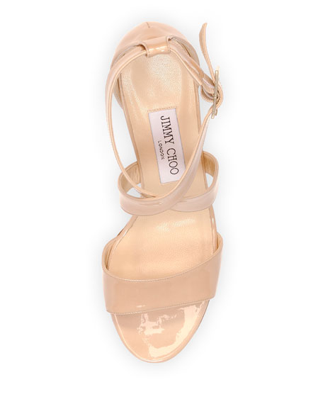 f1b43cd3bb Jimmy Choo Fearne Patent Crisscross Wedge Sandal, Nude