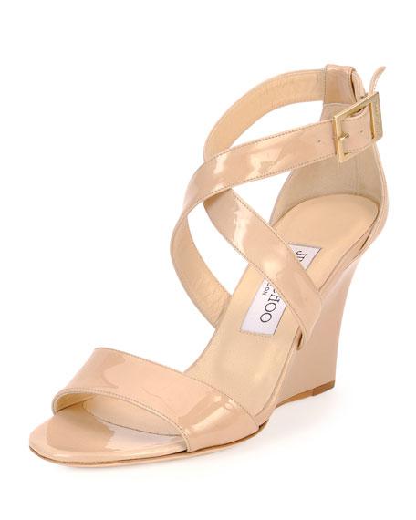 11fbff53515e04 Jimmy Choo Fearne Patent Crisscross Wedge Sandal