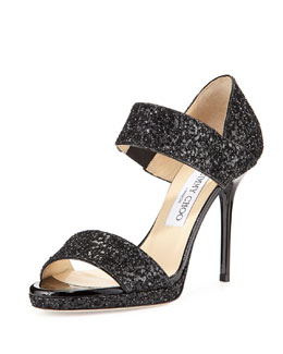 Alana Double-Banded Glitter Sandal, Black