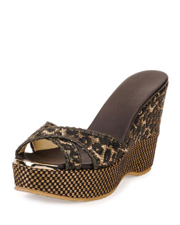 Perfume Raffia Wedge Sandal, Black/Natural