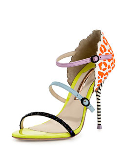 LaBelle Multi-Strap Sandal, Coral/White