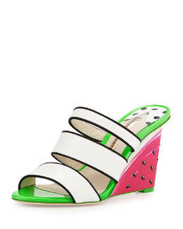 Brooke Watermelon Wedge Sandal, White/Black