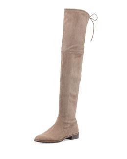 Lowland Suede Over-the-Knee Boot, Praline