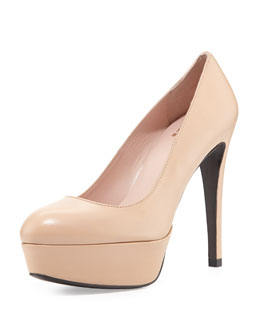 Mae Patent Leather Platform Pump, Adobe