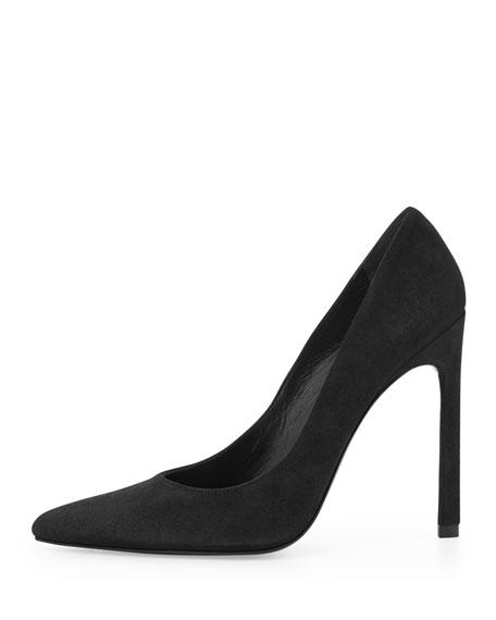 Queen Suede Pointy-Toe Pump, Black