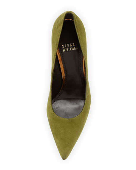 Queen Suede Pointy-Toe Pump, Piselli