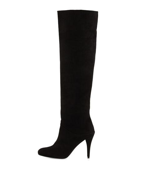 Scrunchy Suede Knee Boot, Black