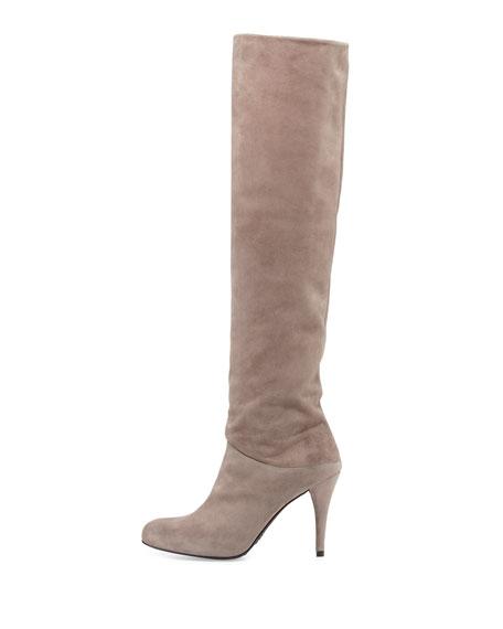 Scrunchy Suede Knee Boot, Topo