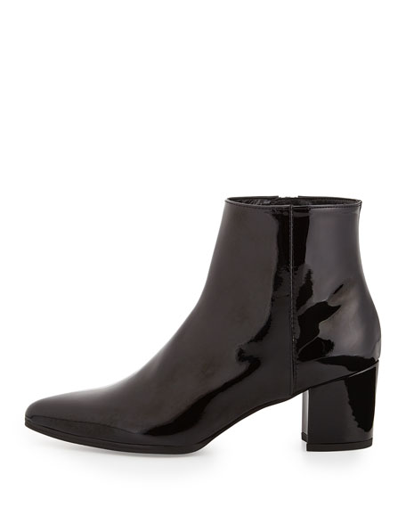 Zepher Patent Ankle Boot, Black