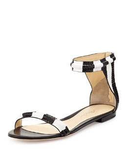 Martini Ankle-Wrap Sandal, Black/White