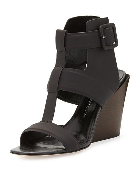 Campbell Ankle-Wrap Wedge Sandal, Black