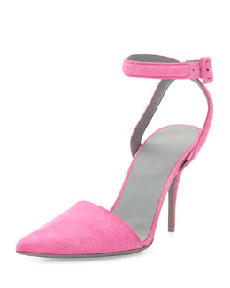 Lovisa Suede Ankle-Wrap Pump, Flamingo Pink