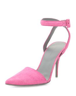 Lovisa Suede Ankle-Wrap Pump, Flamingo Pink