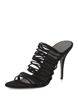 Mathilde Stretch Suede Strappy Sandal, Black