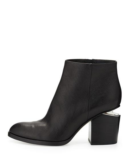 Gabi Leather Bootie with Tilt-Effect Heel, Black