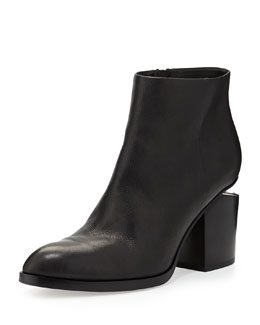 Gabi Leather Bootie with Tilt-Effect Heel, Black
