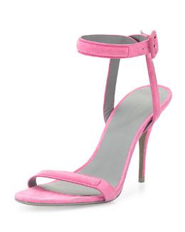 Antonia Suede Naked Sandal, Flamingo Pink