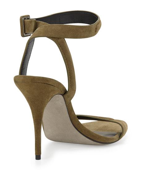 Antonia Suede Naked Sandal, Camouflage Olive