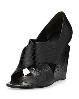 Ida Peep-Toe Lizard-Print Leather Sandal, Black