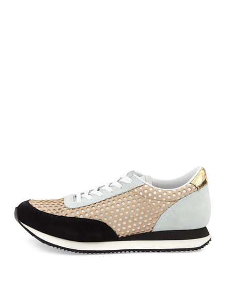 Rio Perforated Leather Sneaker, Buff Mix