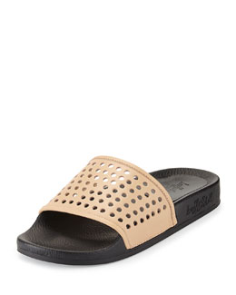 Cat Perforated Slide Sandal, Buff