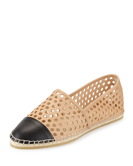 Mara Perforated Espadrille Flat, Buff/Black