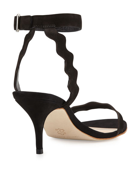 Reina Scalloped Nubuck Sandal, Black