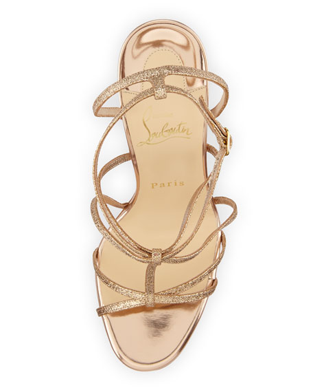 Youpiyou Glittered Red Sole Sandal, Nude