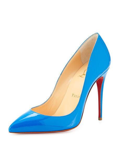 Pigalle Follies Point-Toe Red Sole Pump, Blue