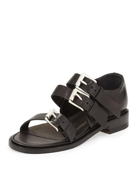 54008062055 Hudson Multi-Strap Leather Sandal Black