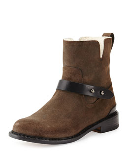 Ashford Shearling Fur-Lined Moto Boot, Stone