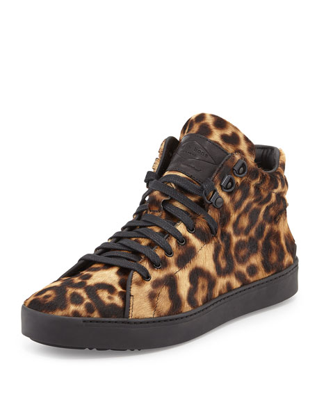 Kent Calf Hair High-Top Sneaker, Leopard