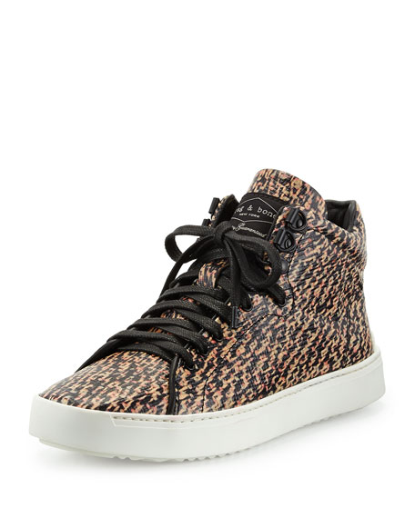 Kent Tweed-Print High-Top Sneaker