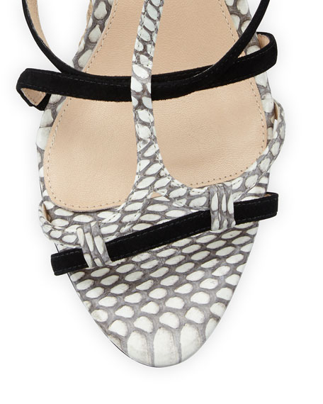 Suede and Snakeskin Wedge Sandal, Natural/Black