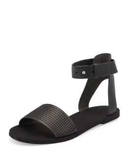 Sawyer Leather Ankle-Wrap Sandal, Black