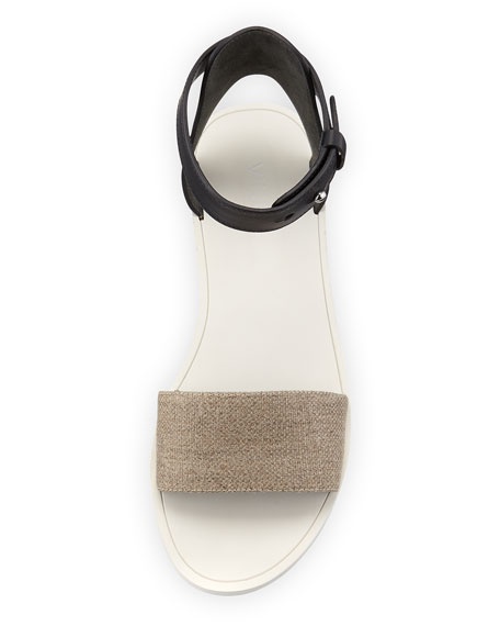 Sawyer Ankle-Wrap Flat Sandal, Natural/Black