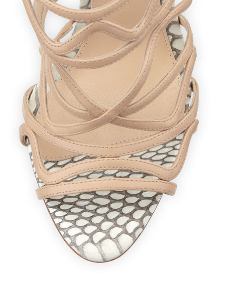 Leather and Snakeskin Wavy Tie-Back Pump, Nude/Natural